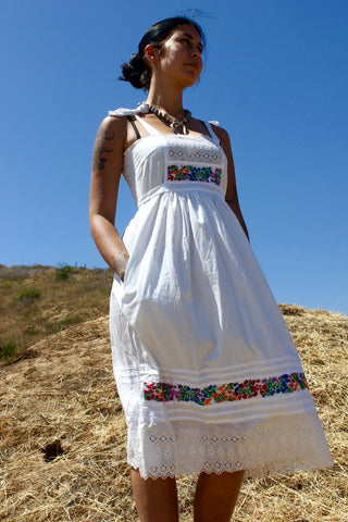 1970s Never Worn Oaxacan Hand Embroidered Mexican Sun Dress