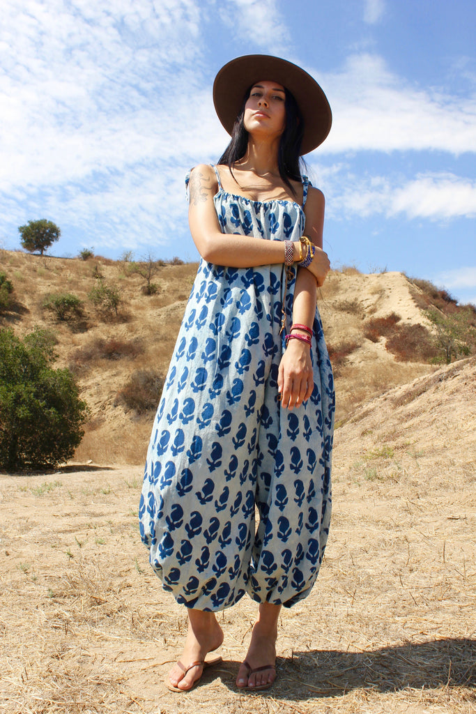 Hand Printed Indian Cotton Indigo Jumpsuit