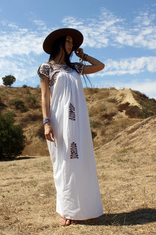 Earthy Oaxacan Beauty 1970s Hand Embroidered Maxi Dress