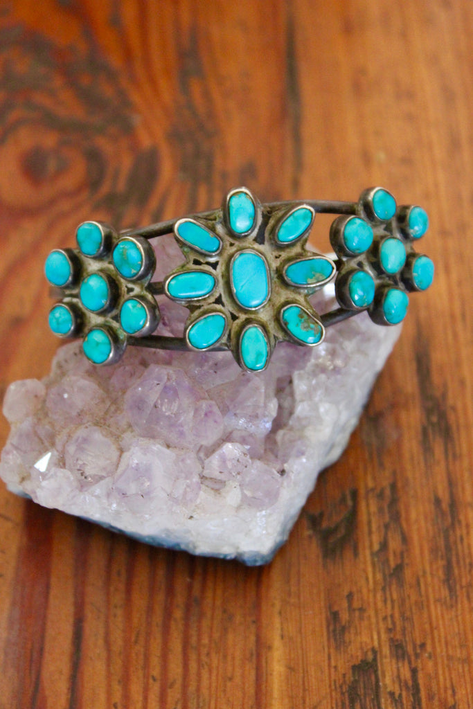 Native American Turquoise Old Pawn Mid Century Cluster Cuff