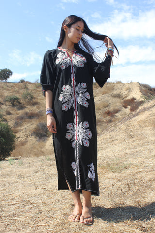 Vintage Middle Eastern Chain-Stitched Maxi Dress