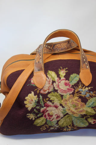 """Whiskey and Roses"" Antique Needlepoint Handmade One of A Kind Honeywood Overnighter Bag"