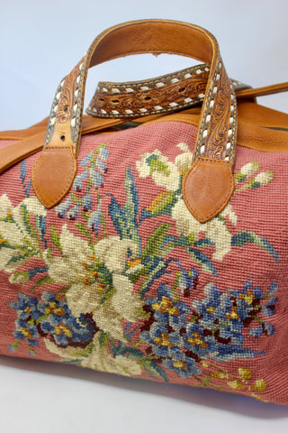 """Dusty Rose Lillies"" Honeywood Handmade Overnighter Bag"