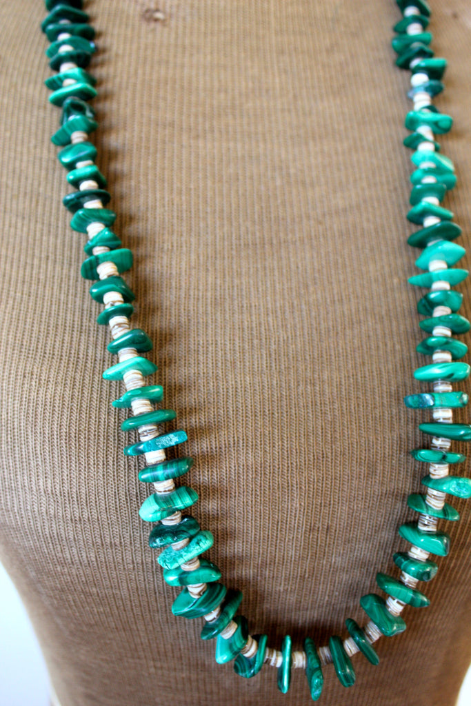 SALE Vintage Navajo Chunk Malachite and Heishi Necklace
