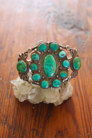 Old Pawn Large and Gorgeous 1940s Cluster Cuff
