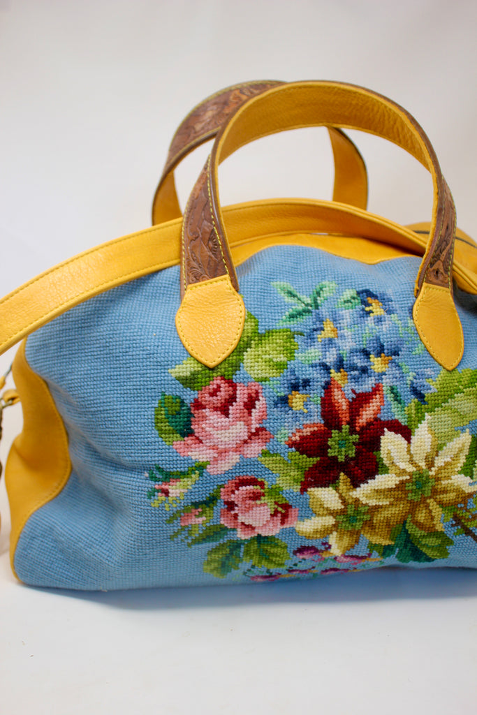 Honeywood Original One of A Kind Antique Needlepoint Overnighter Bag