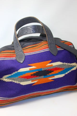 """Cobalt and Orange"" Antique Chimayo Honeywood Overnighter Bag Handmade with Elk"