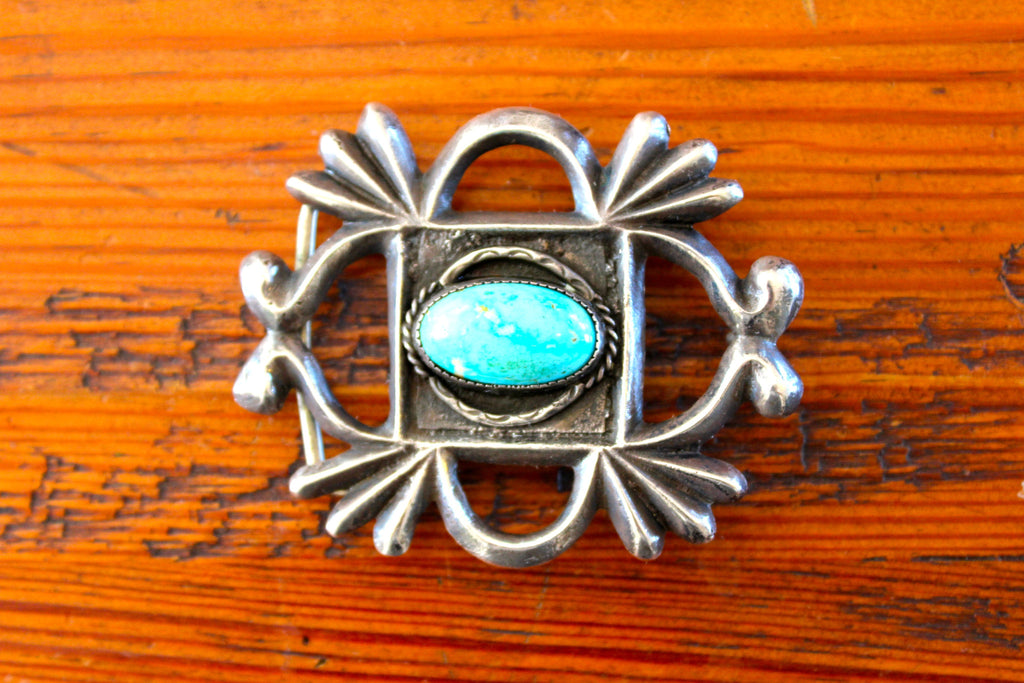 Old Pawn Navajo Sand Cast Sterling Belt Buckle