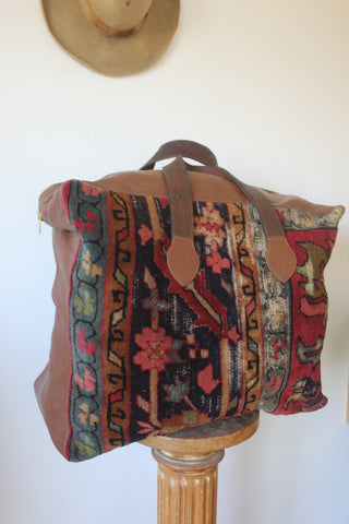 """TAOS LUXE""  Giant Honeywood Handmade Antique Carpet Bag"