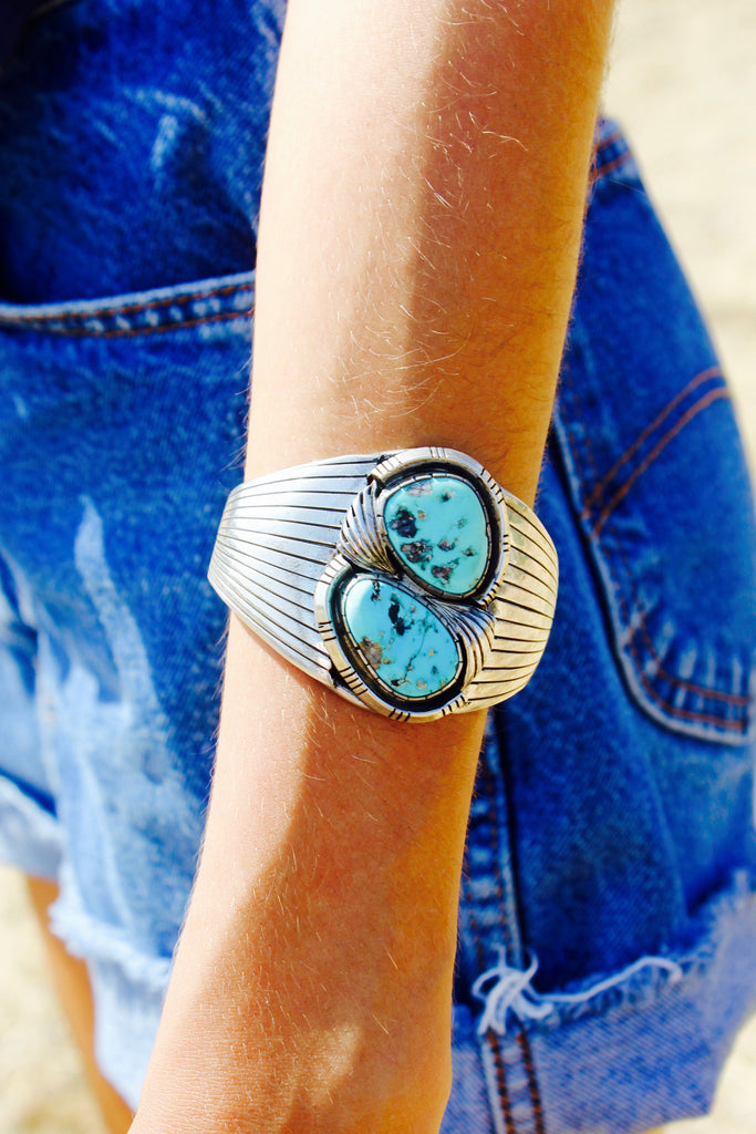 Reserved Signed Navajo Elegant Handmade Sterling Turquoise Cuff