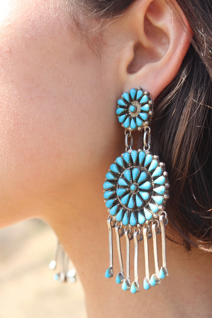 X-Large Zuni Turquoise Cluster Dangle Earrings