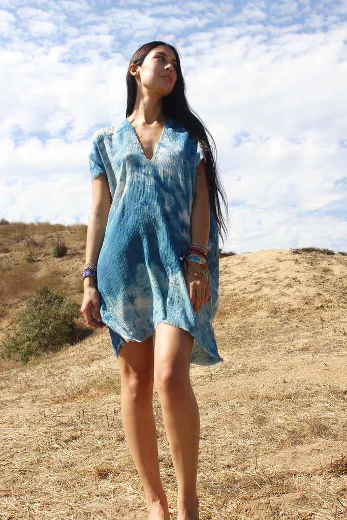 """Totally Blown"" Hand Dyed Indigo Tunic Dress"