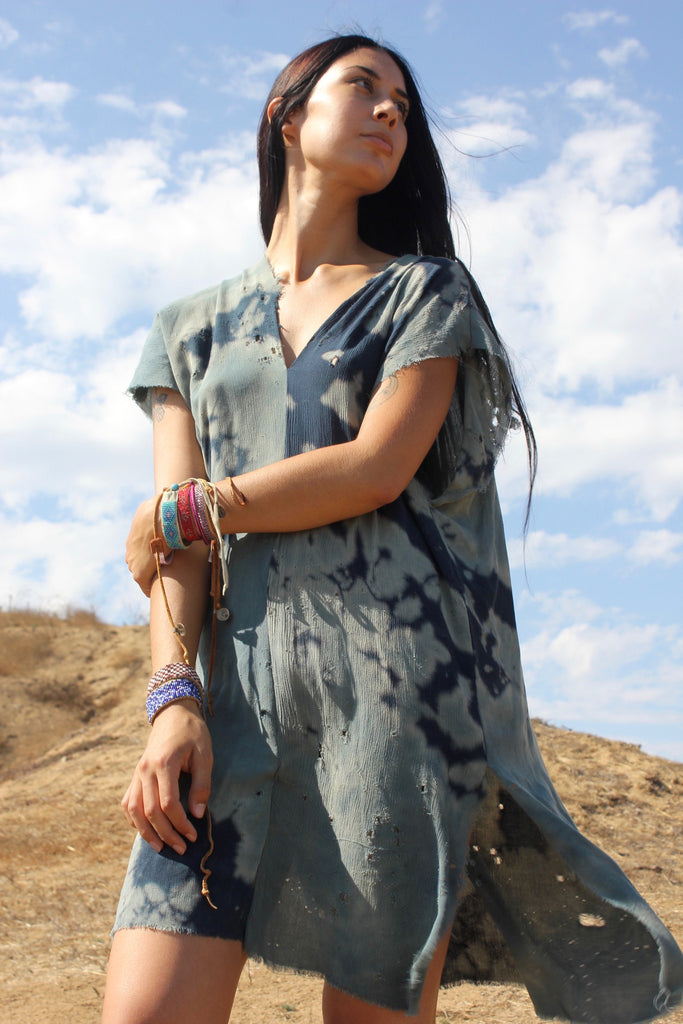 """Indigo Canyon"" Hand Dyed Tunic By Totally Blown"