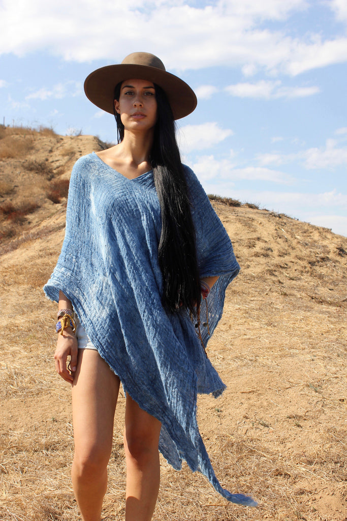"""Water and Sky "" Totally Blown One of a Kind Indigo Poncho"