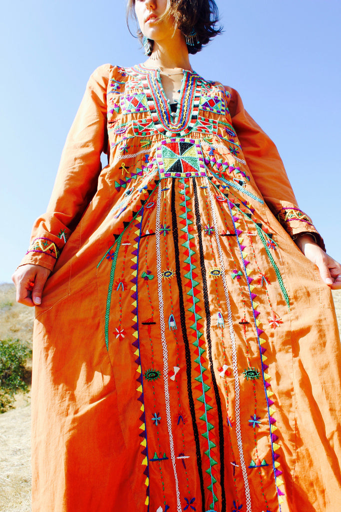 "RARE ""cosmic folk"" 1970s hand embroidered egyptian maxi dress"