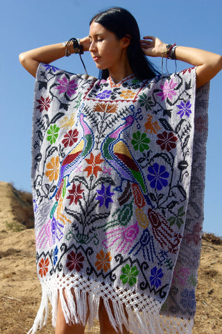 """Cosmic Peacocks"" Vintage Hand Embroidered Mexican Poncho"