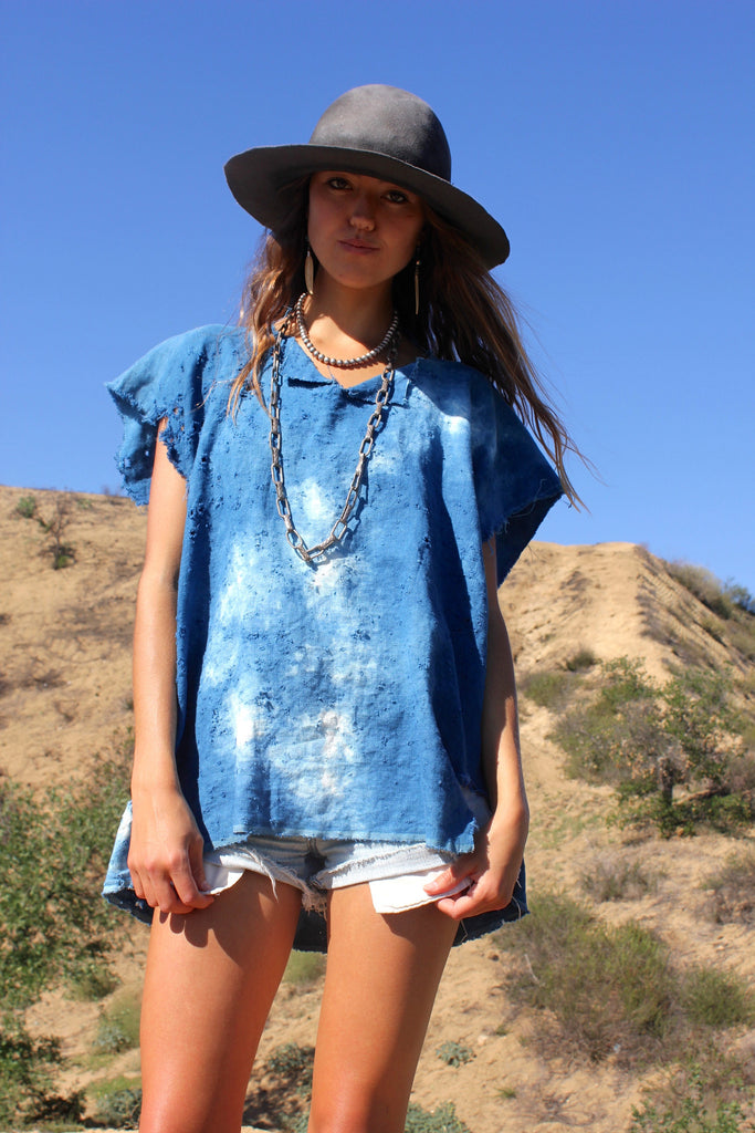 """Totally Blown"" Indigo Linen Blouse"