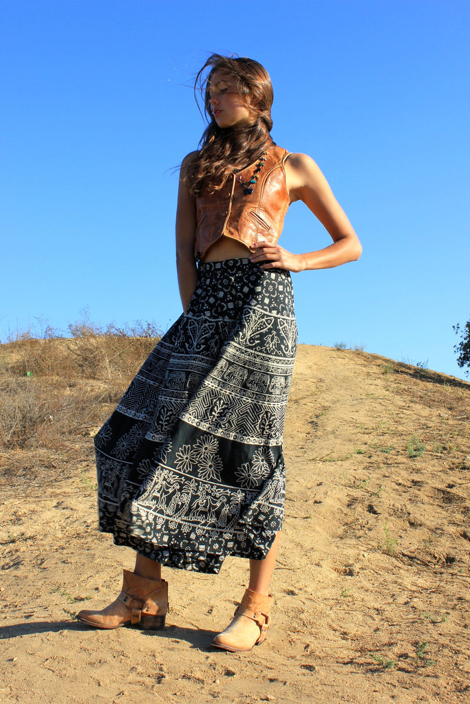 Magical and Full Vintage Indian Block Print Skirt