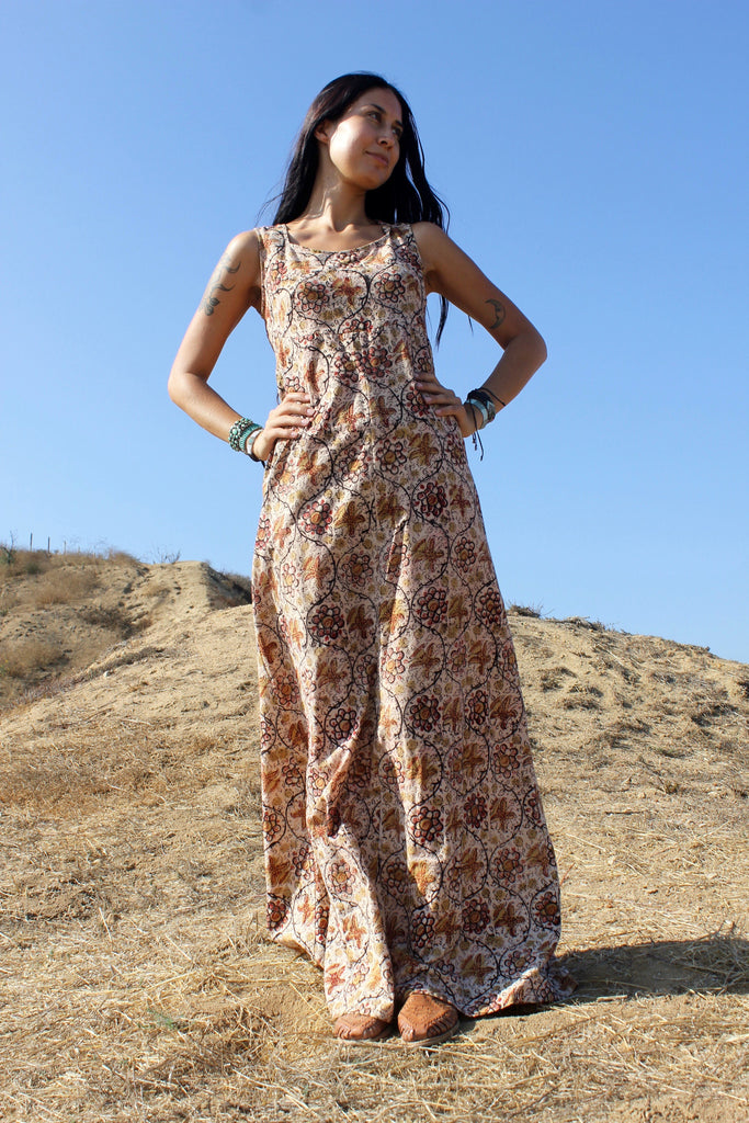 1970s Handmade Block Print Maxi Dress
