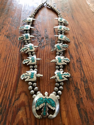 "ntique Navajo Sterling ""Peyote Bird"" Squash Blossom"