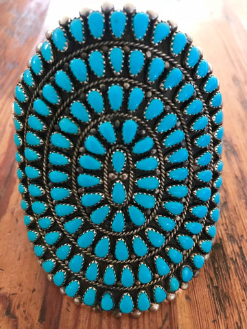 Large Zuni Antique Turquoise Cluster Cuff  STUNNING
