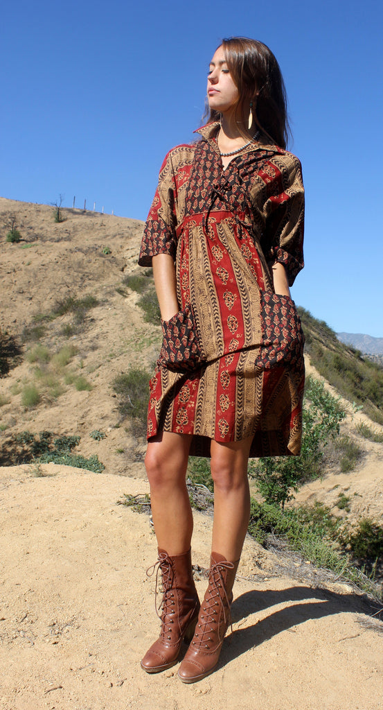 XS/S 1970s Indian Block Print Dress