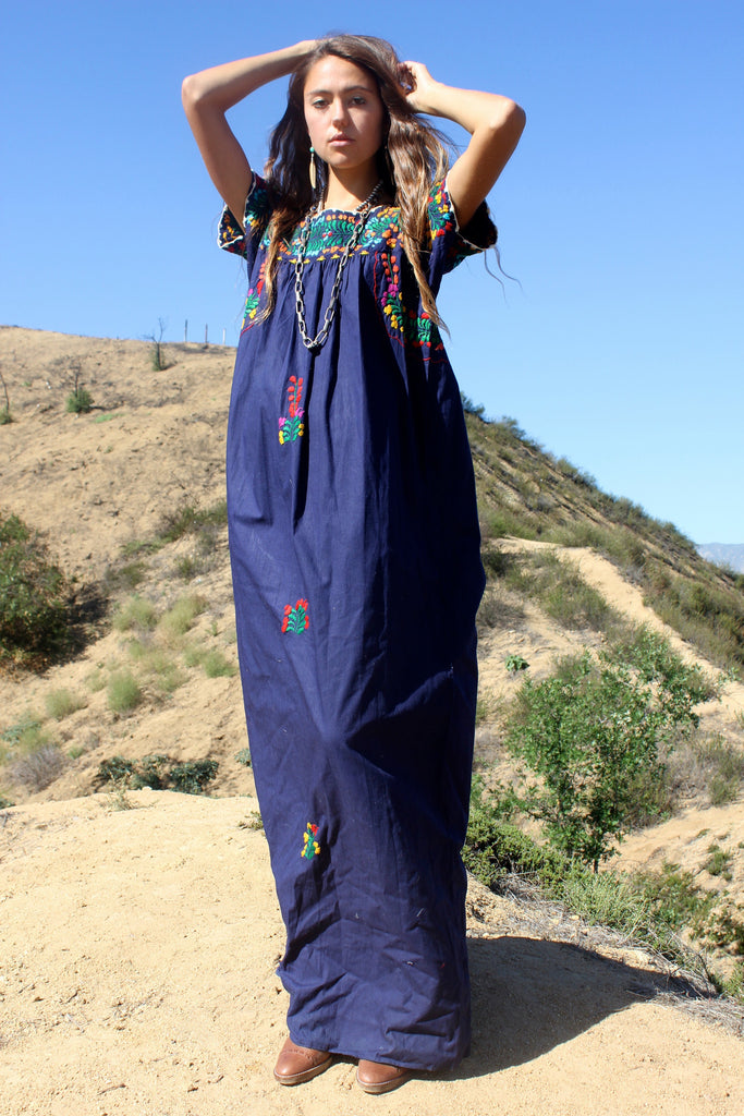 RESERVED Classic Navy Embroidered Navy Oaxacan Maxi Dress