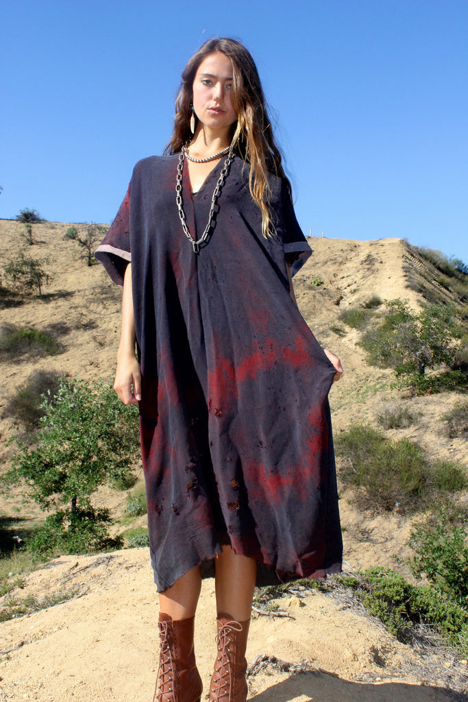 "ReServed ""Totally Blown"" Hand Dyed Rayon Maxi Dress"