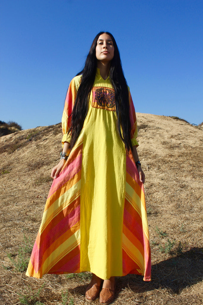 """Cosmic Sun Beam"" 1970s Handmade Mexican Maxi Dress"