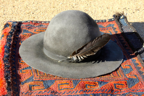 """Lone Hawk Hats"" Faded Grey Vintage Hand Shaped Hat"
