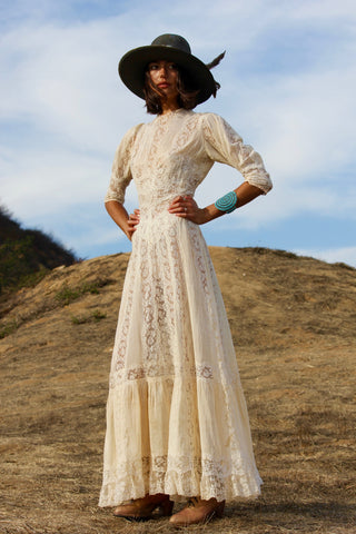 Antique Victorian Era Lace Wedding Dress WOWZA