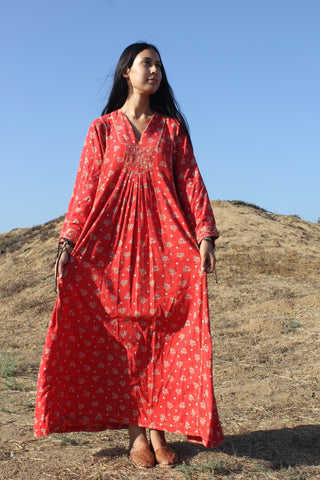 1970s Cotton Pakistani Maxi Dress