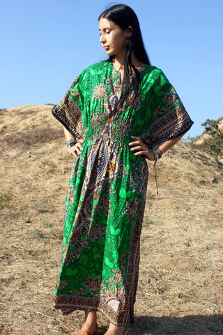 """Thai Emerald"" Vintage Cotton Kaftan"
