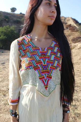 """Rainbow Spirit"" Vintage Indian Embroidered Dress"