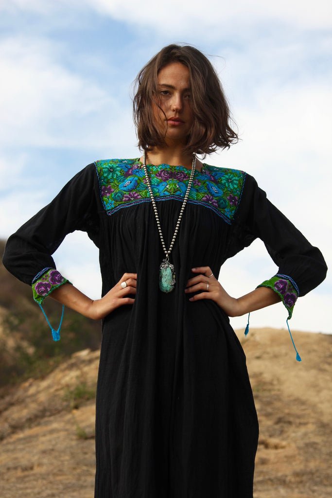 """Chiapas Moon"" STUNNING Hand Embroidered Mexican Dress"
