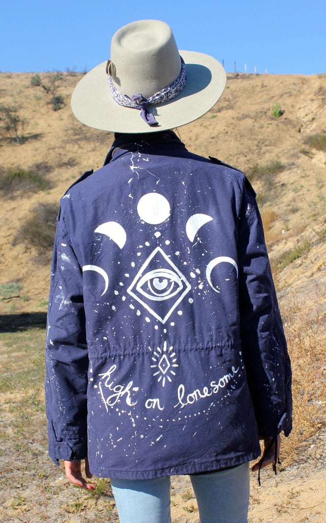 """High on Lonesome"" Rustic Threads Hand Painted Vintage Military Jacket"