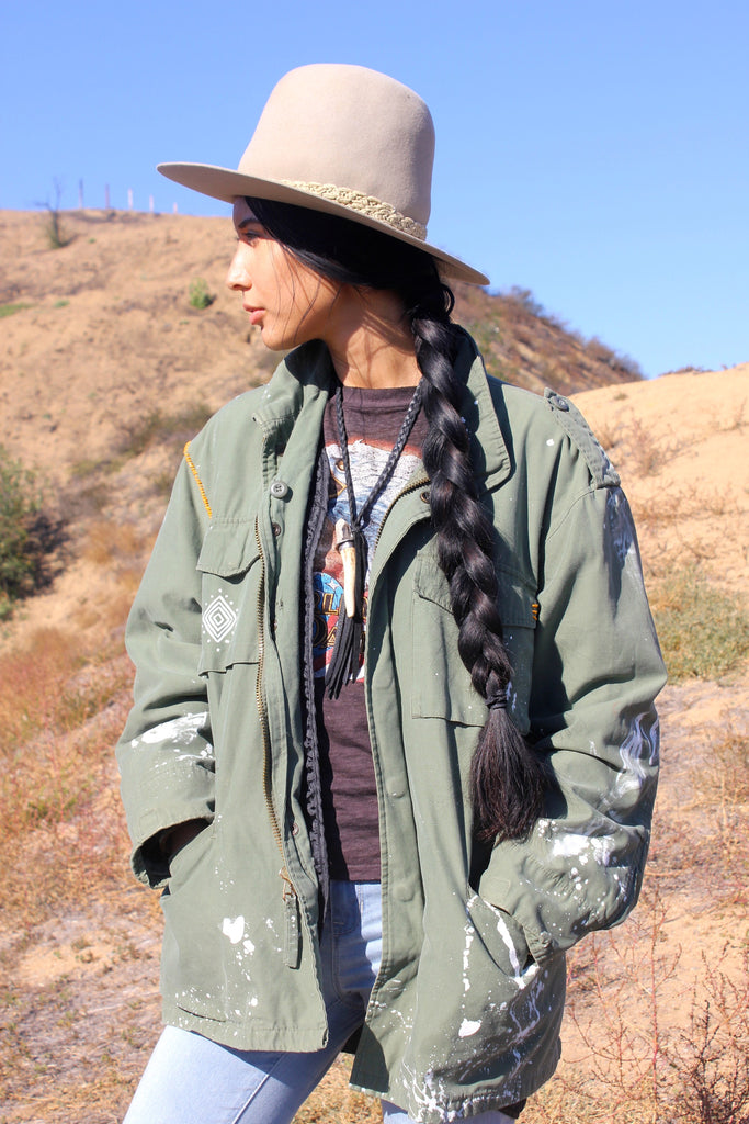"""Rocky Mountain High"" Rustic Threads Hand Painted Military Jacket"