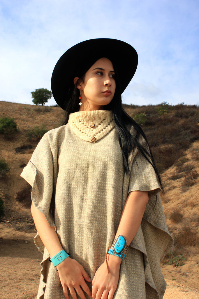 Vintage Cowl Neck Woven Wool Poncho