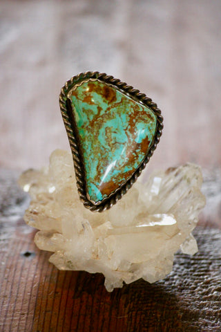 Giant Old Pawn Royston Turquoise Statement Ring Size 8