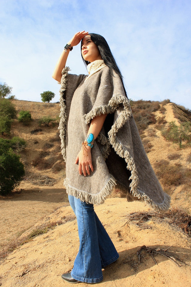 Woman of The Hills Handwoven Wool Poncho