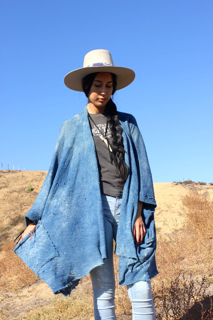 """Totally Blown"" Indigo Dyed Knit Cocoon Poncho"