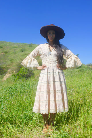 1970s Bohemian Folk Mexican Wedding Dress