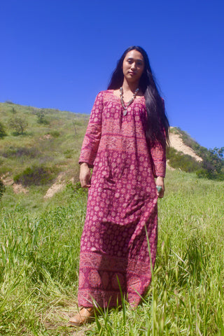 1970s Indian Block Print Cotton Maxi Dress