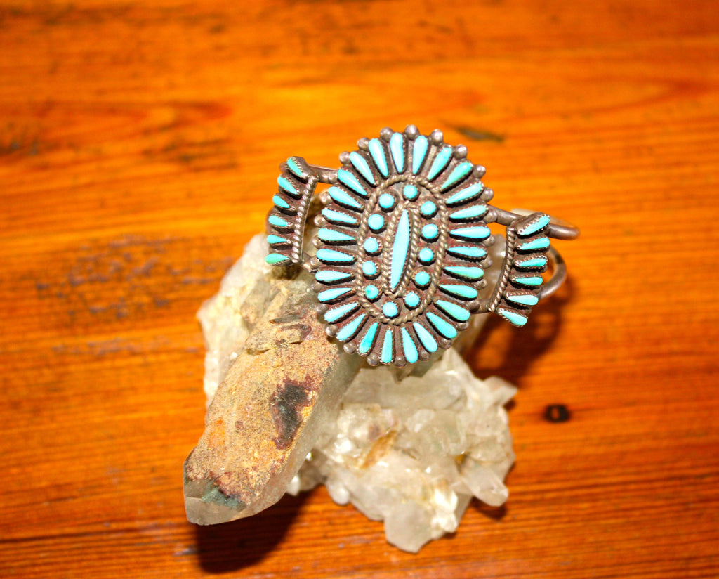Old Pawn Mid Century Petite Point Native American Turquoise Cuff