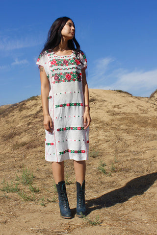 """Mexican Dreams"" Handwoven Mexican Folk Art Huipil Tunic"