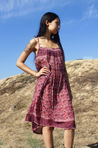 """Cranberry Moon"" 1970s Indian Gauze Dress"