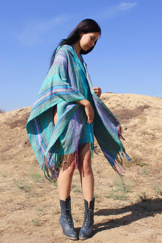 """Running Waters"" Hooded Vintage Handwoven Poncho Wrap"