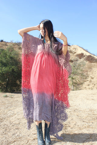 """Indian Summer"" Exquisite Hand Dyed Honeywood Kaftan"