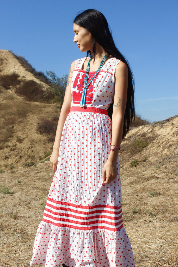 """Cosmic Mexican Prairie"" 1970s Hand Embroidered Maxi Dress"