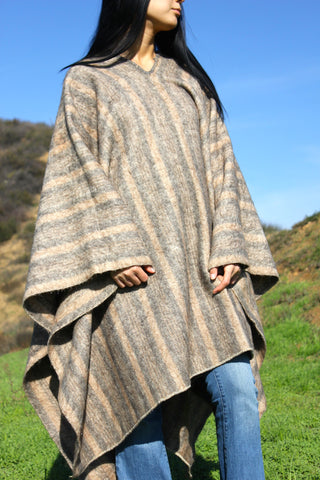 Wool Leather Fringe Poncho-Conchos-Vintage Poncho with Pockets-Lined Poncho-Vintage Western Poncho-Western-MLXL